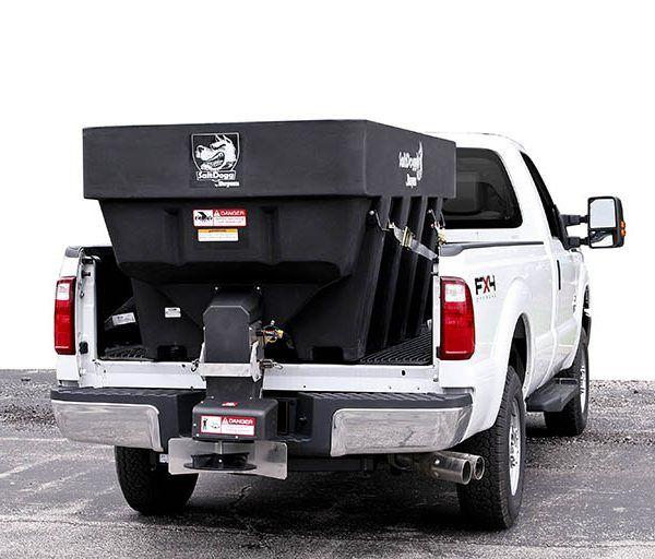 snowdogg truck mount salt spreader on white truck