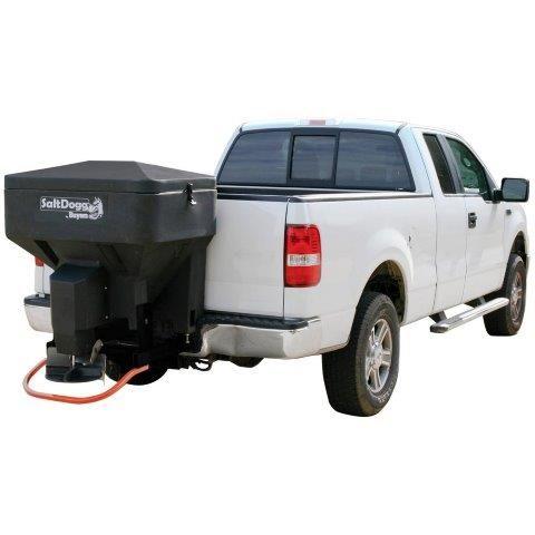 snowdogg salt spreader on back of white truck