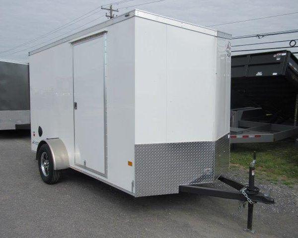 White V-nose Enclosed Trailer with side door