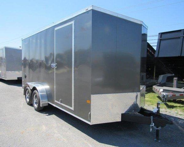 Outside of silver v-nose trailer