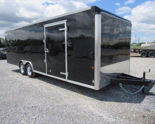 Black enclosed car mate trailer with side door