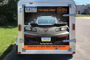 Back view of custom design trailer for Thayer's Mobile Detail