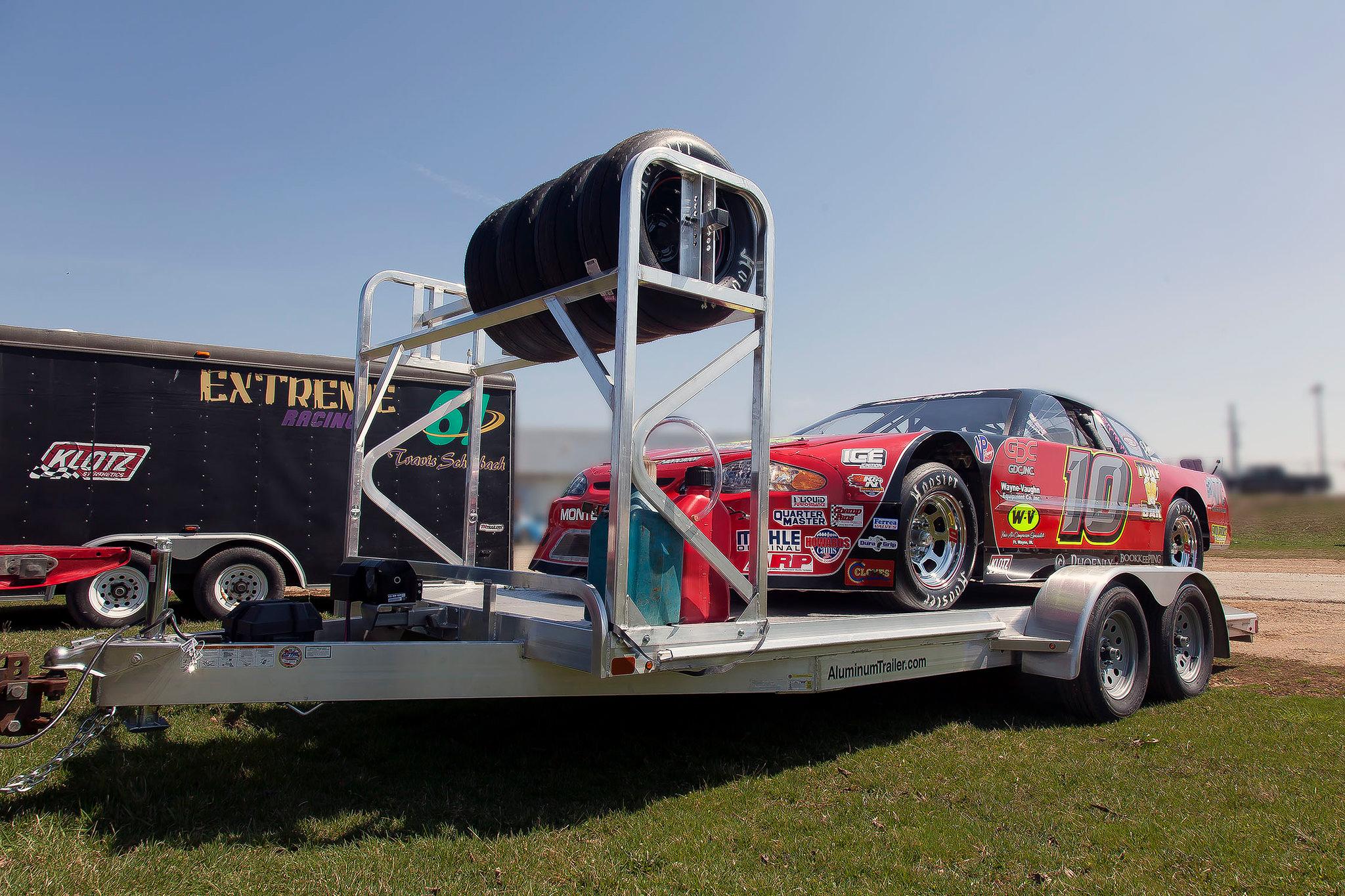 race car loaded on trailer