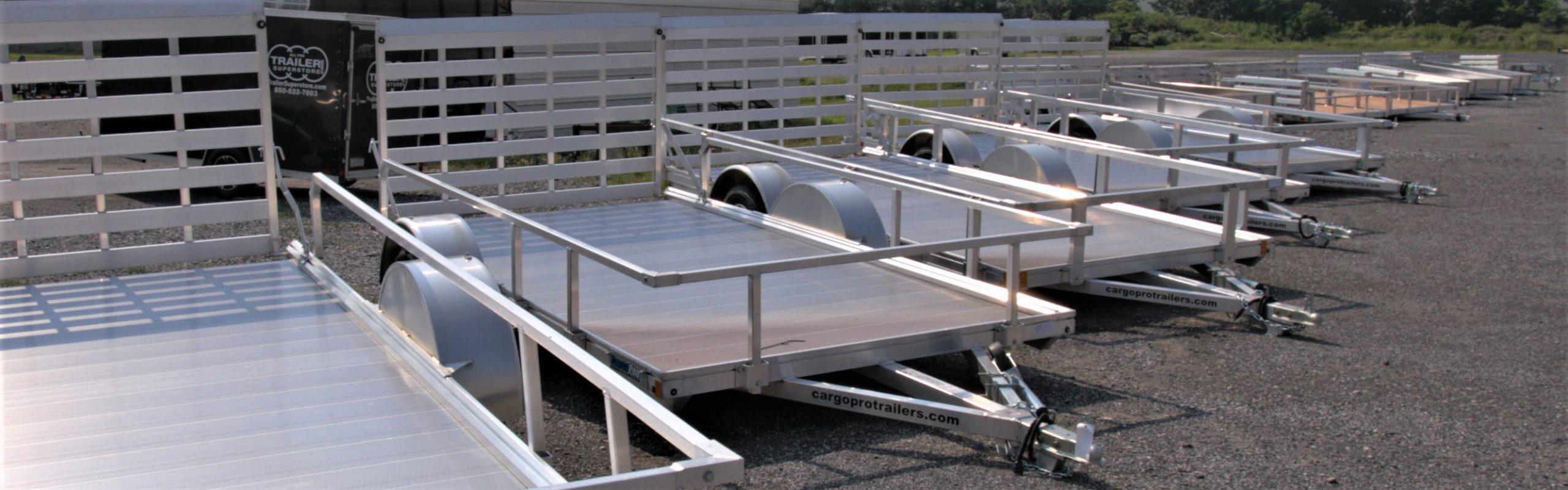 line of aluminum trailers